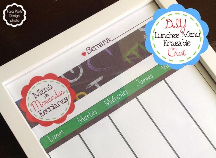 Tutorial ~ Tabla editable para preparar menús de la semana #meriendas #lunches #plan #erasable #board #free #printable #imprimible #gratis