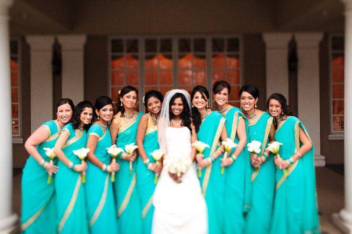turquoise and gold bridesmaid saris