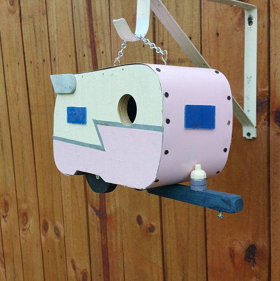 Pink and Ivory Shasta Trailer Birdhouse Caravan Birdhouse with