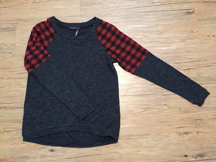 THML Knoll Pullover - gray red plaid - Stitch Fix 2016