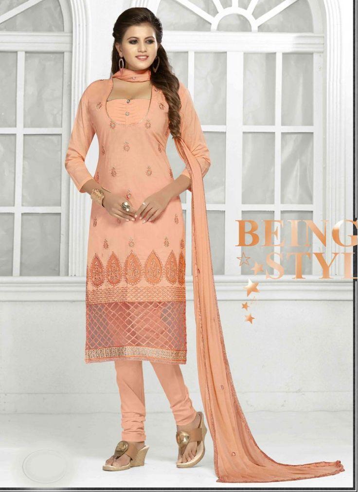 Cotton   Lace Peach Trendy Churidar Salwar Suit