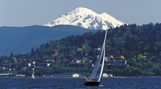 Sailing Bellingham Bay with Mt. Baker in the background ~ by Western Washington University