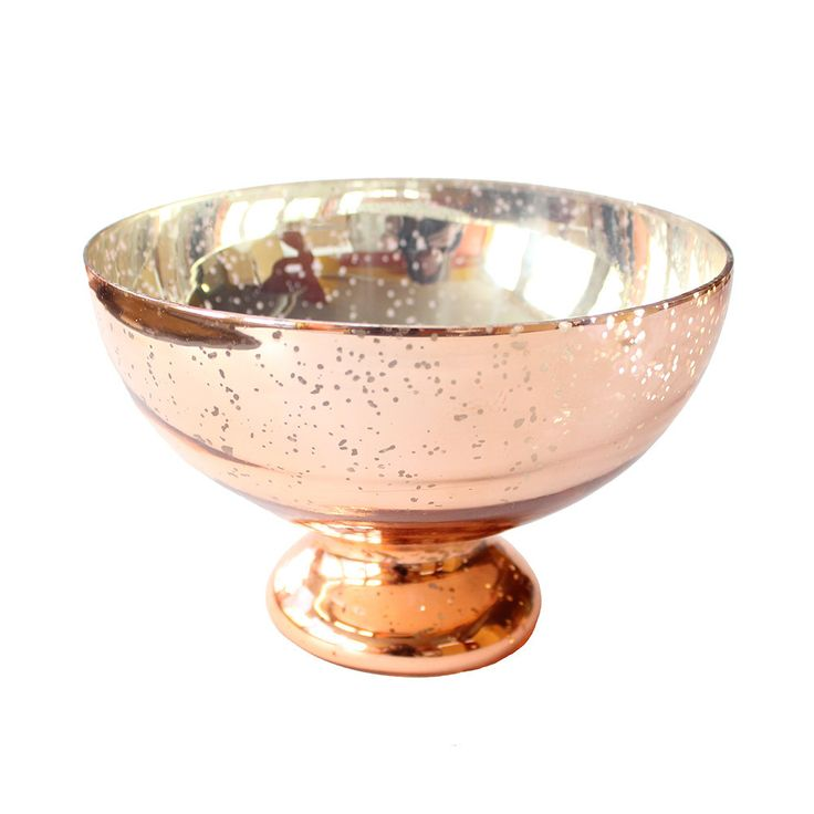 "Blush Copper Mercury Glass Pedestal Bowl 7.5"" Diameter x 5"" Tall"