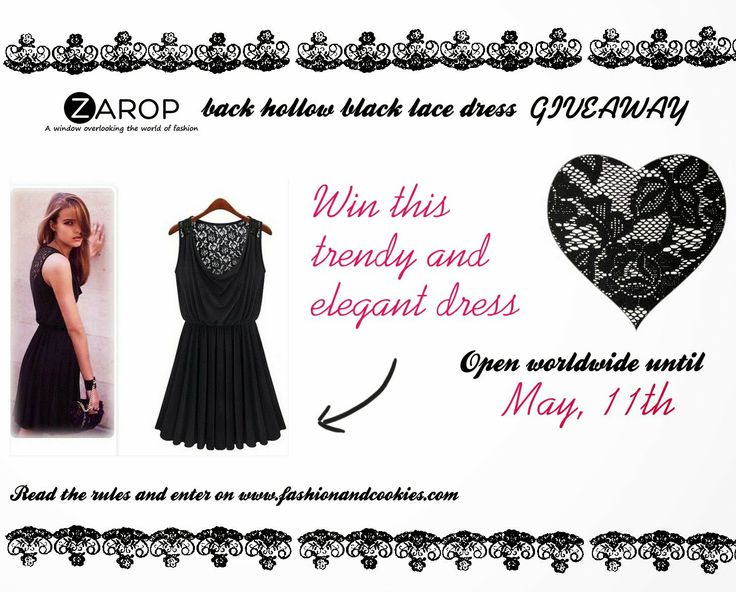 Zarop back hollow black lace Giveaway on Fashion and Cookies