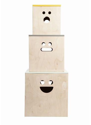 plywood face boxes via Design For MiniKindFerm Living, Storage Boxes, Plywood Boxes, Toys Boxes, Boxes Storage, Face Plywood, Boxen Face, Face Boxes,  File Cabinets