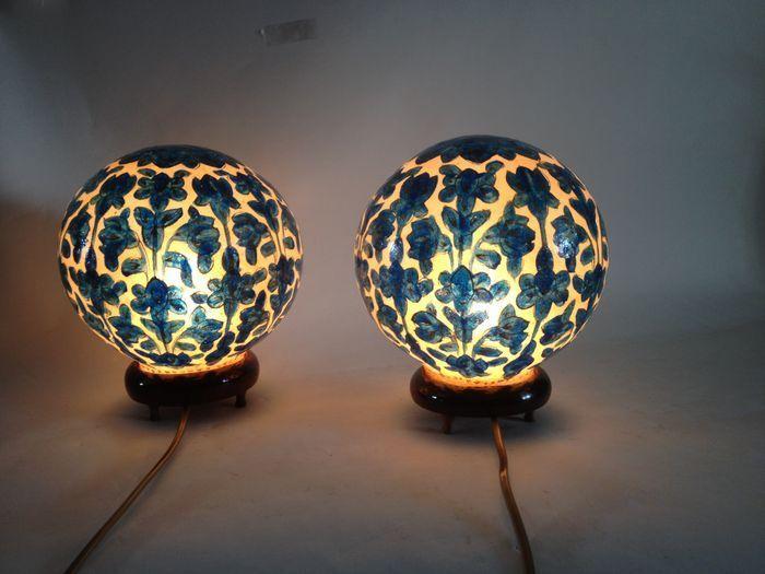 Online veilinghuis Catawiki: Set perkament tafellampen - Pakistan - eind 20e eeuw