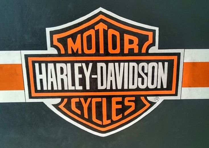 Hand painted logo Harley Davidson