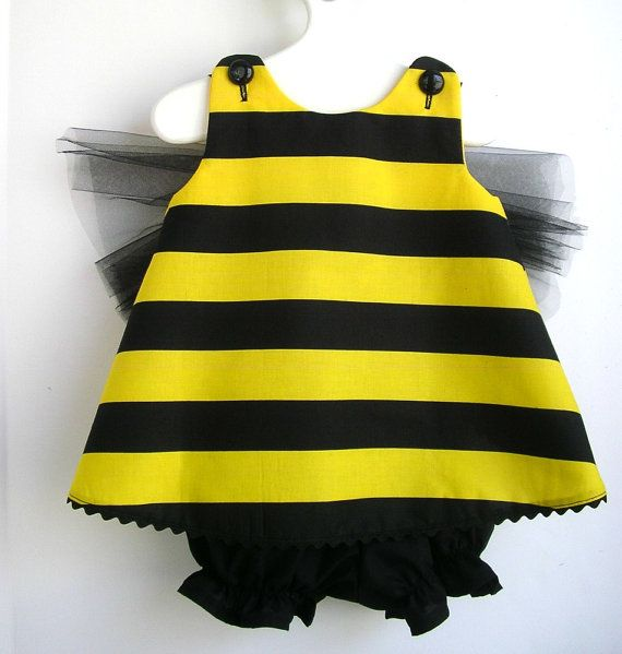 Reserved for Kelly B. Bumble Bee Toddler Costume 3PC Set, Bloomers and Floral Headband -