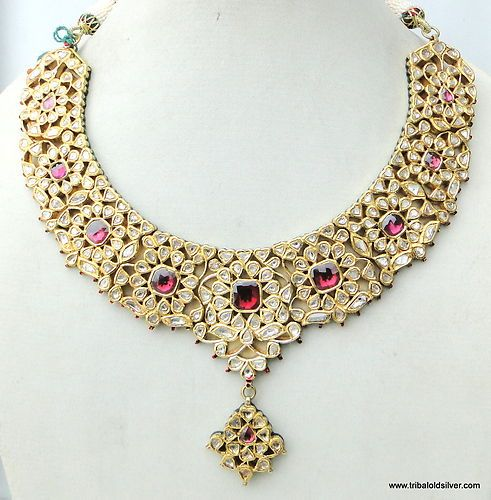 Vintage Gold & Diamond Polki Kundan Enamel MEENAKARI Work Necklace