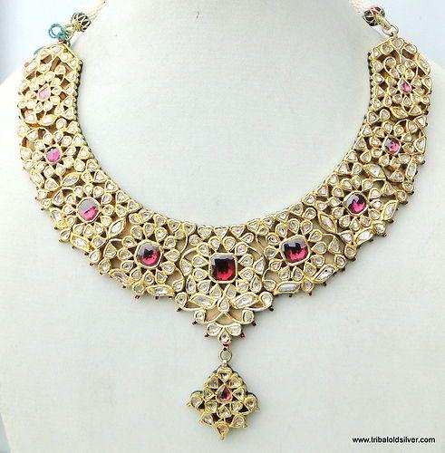 Vintage Gold & Diamond Polki Kundan Enamel MEENAKARI Work Necklace