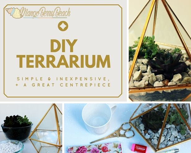 How to Brighten Your Desk Area - DIY Terrarium! // Super simple, inexpensive and an easy DIY to do that will brighten and liven your desk area! // MangoBerry Beach