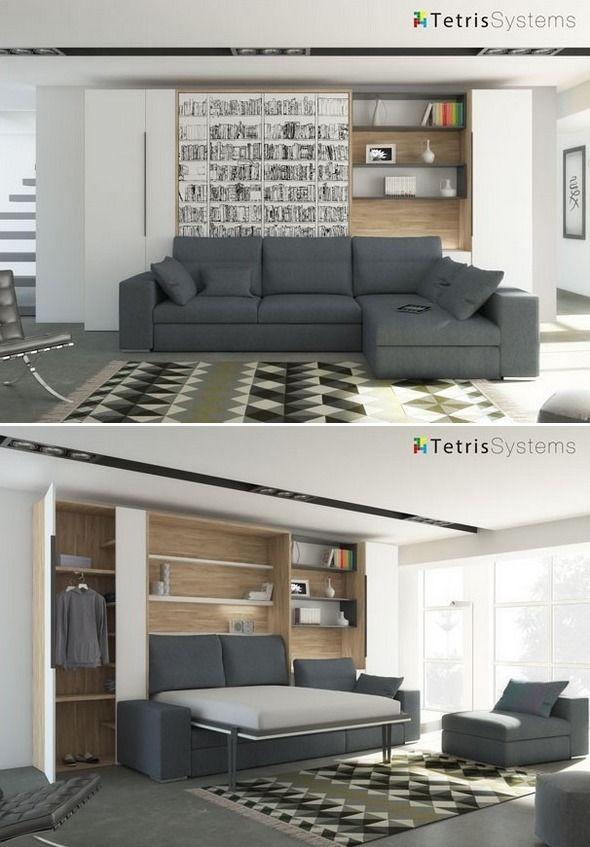 Salón con cama abatible vertical y sofá 515-sf001
