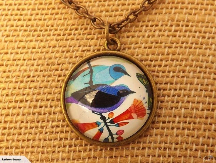 Blue Birds - Bronze Dome Pendant | Trade Me