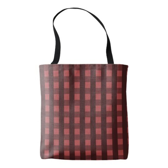 Traditional red chequered pattern, buffalo plaid tote bag