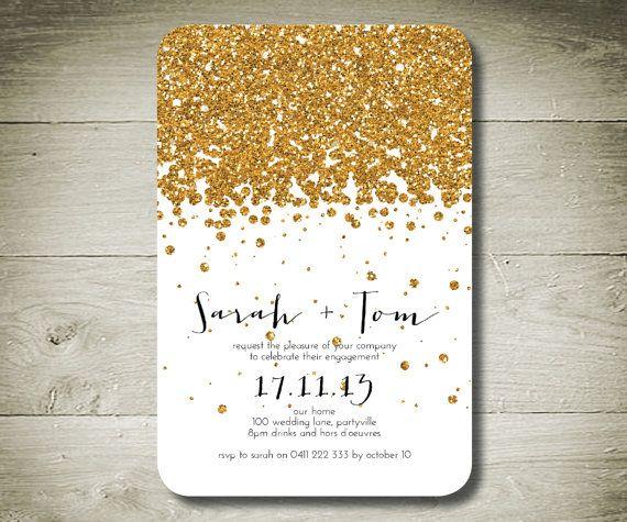 gold glitter invites