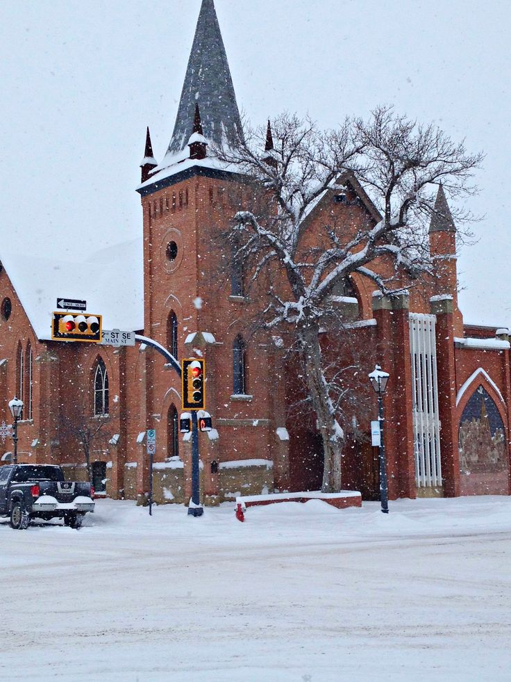 St. John's Presbyterian, Medicine Hat, Alberta with it's famous ancient cottonwood.....in a snowstorm.