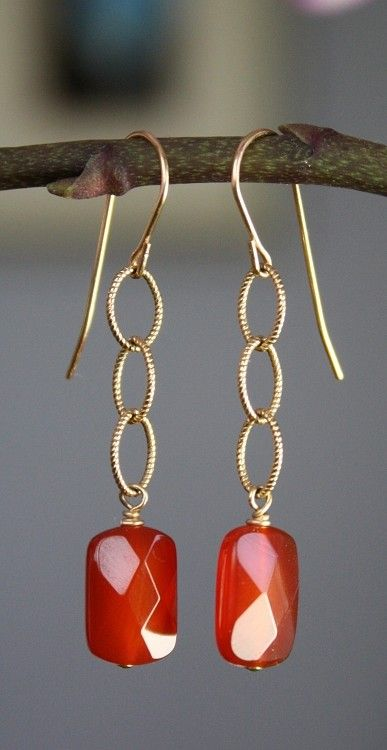 Carnelian and Gold Filled Earrings                                                                                                                                                     Más