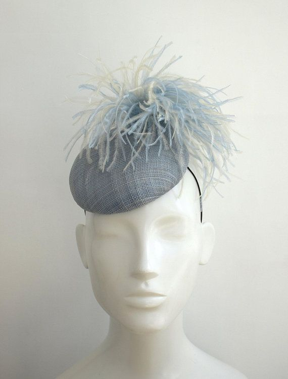 Light Blue Pillbox Hat - Pale Blue Wedding Fascinator - Pastel Blue Ladies  Day Racing Style Derby Hat - Ascot Hat - Powder Blue Cocktail Hat  a986aa1f3fc