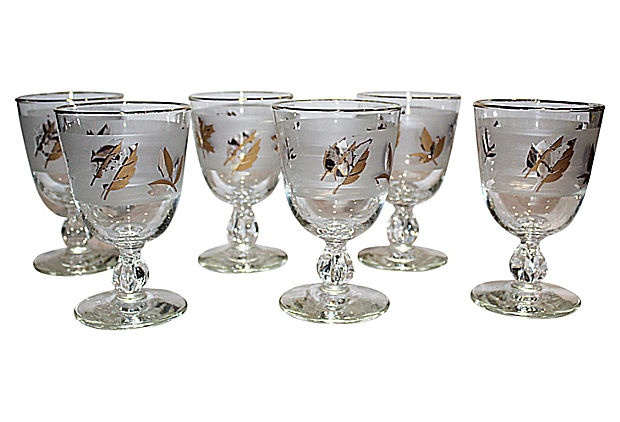 Midcentury Wine Goblets, S/6   Was $150. Now $79.  Condition: very good; some gold loss.  Set of six Libbey gold and frosted leaf pattern wine glasses.   Made in the 1960s.   (3/15/2013)  OneKingsLane.com