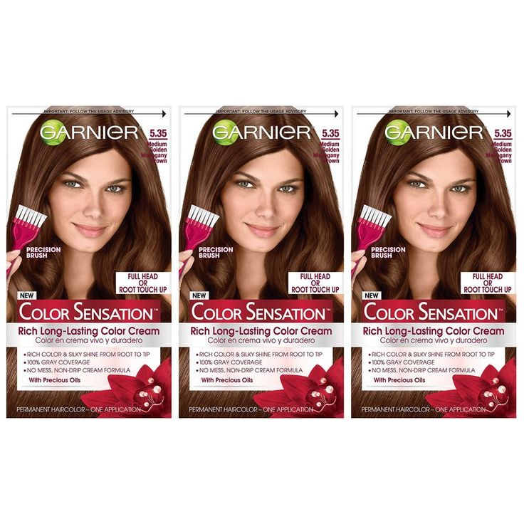 Garnier Color Sensation Hair Color Cream, 5.35 Medium Golden Mahogany Brown, 3 Count -- Continue with the details at the image link. #hairsandstyles