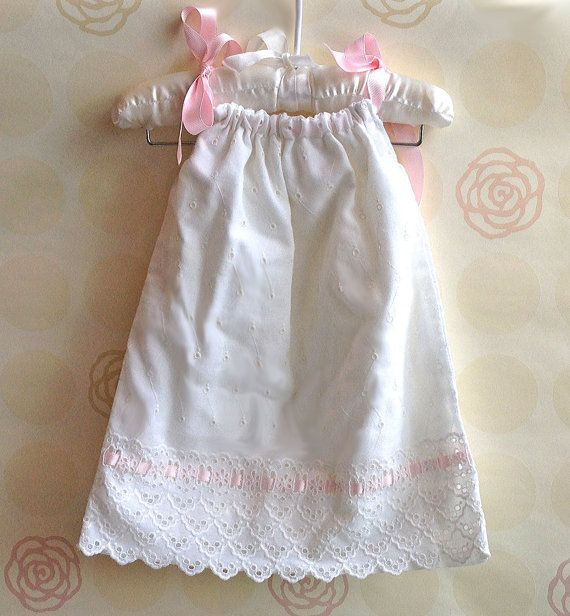 6 12 months Vintage Baby Pillowcase Dress with Pink Ribbon