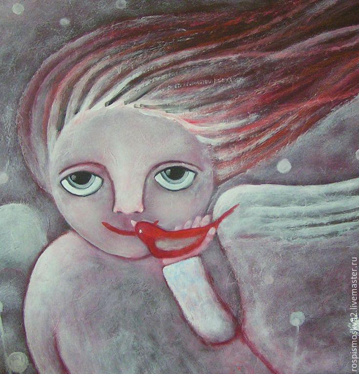 Купить Картина Яблочко-2 ребенок полет ангел - Живопись, картина, лето, весна