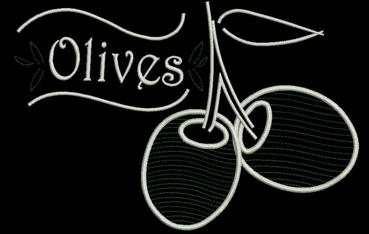 Olives embroidery design,coffee design,digital download, pattern,kitchen,mom,cuisine by GretaembroideryShop on Etsy