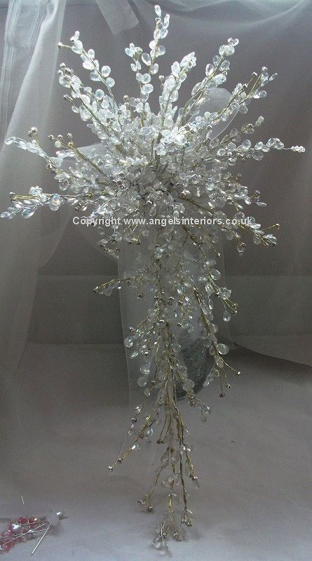baby breath bridal bouquet with crystal stems | Crystal Wedding Bouquets - artificial flowers with crystals for your ...