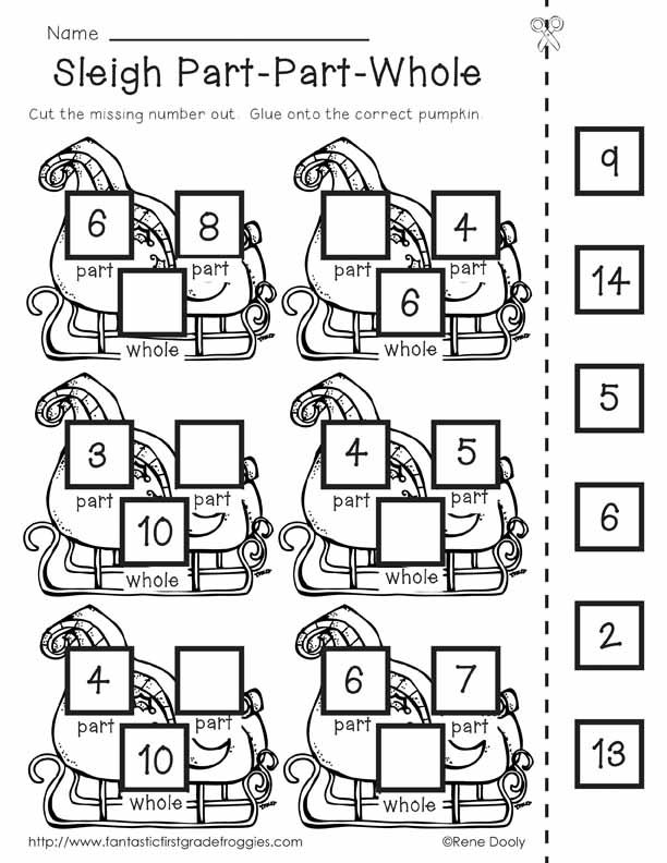 Reindeer Math Games- common core activities for first grade; part-part-whole $