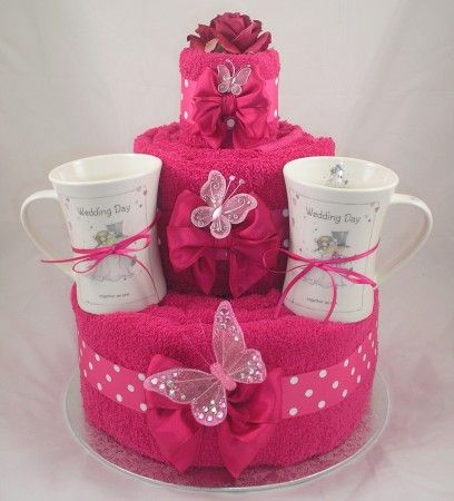Hot Pink Three Tier Wedding Cake with Cups