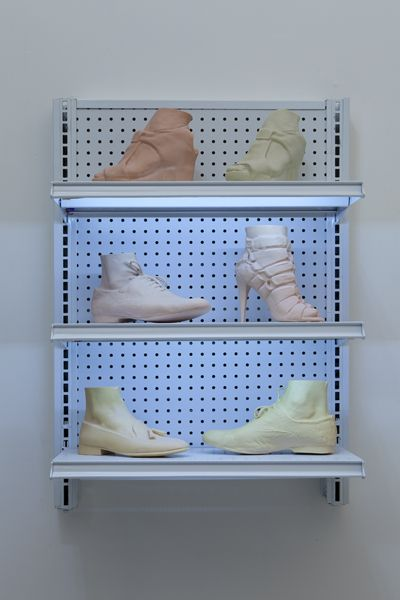 josh kline. ready to wear, 2012 6 3-D printed sculptures in plaster, vinyl polymer, and carbohydrate, commercial shelving with LED lights Designer's foot with Dieppa Restrepo Shoe (Elisa Restrepo) Designer's foot with Loeffler Randall Shoe (Serena Haller) Designer's Foot with Rachel Comey Shoe (Sean Carmody) Designer's foot with Slow and Steady Wins The Race Shoe (Mary Ping) 36 1/2 x 26 1/8 x 15 1/2 in/ 92.7 x 66.4 x 39.4 cm edition of 3