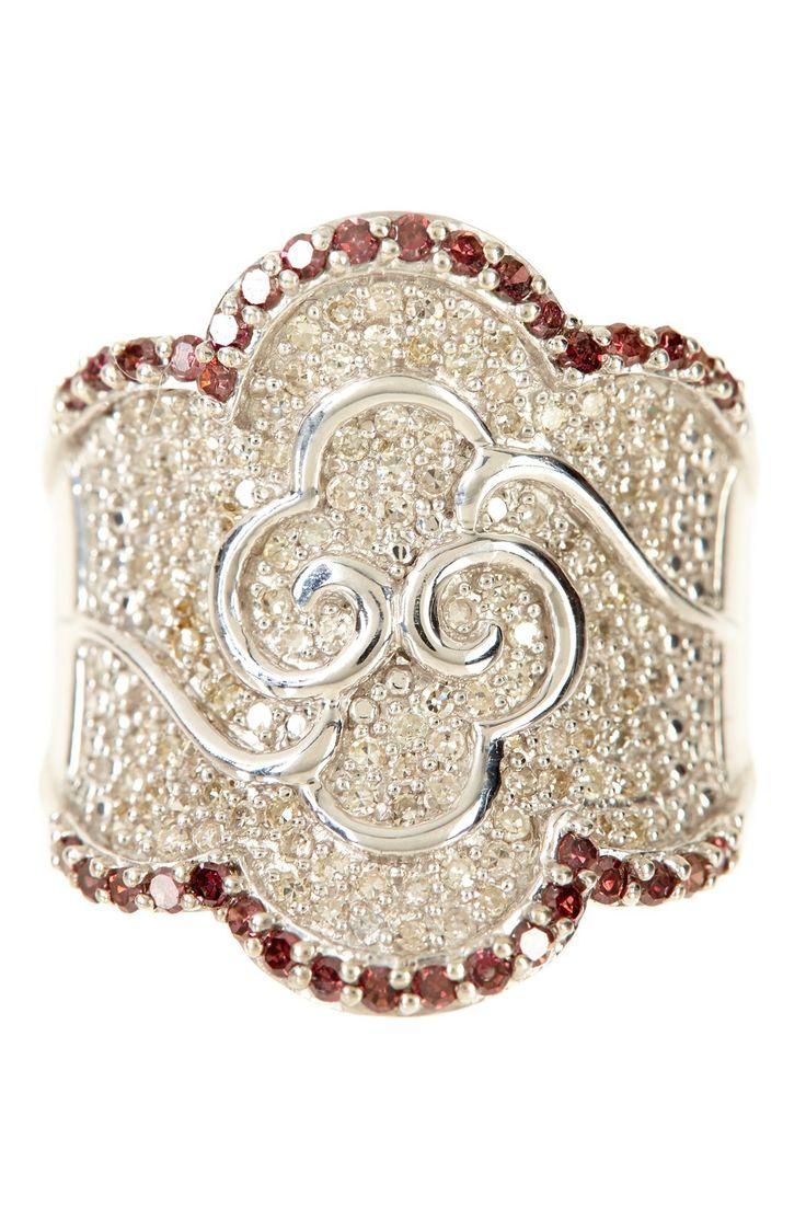 Pave Pink & White Diamond Scalloped Ring - 1.00 ctw