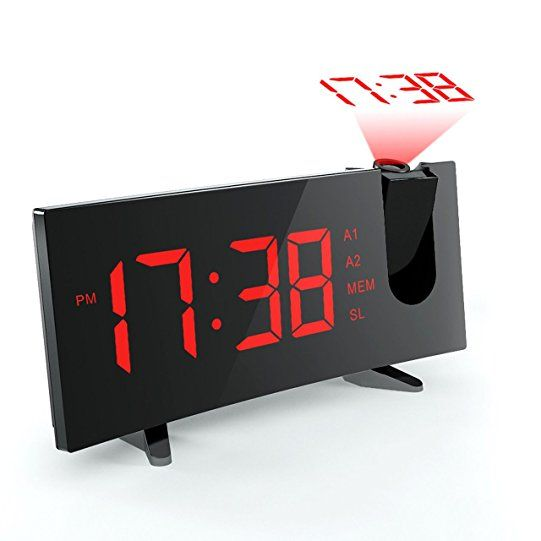Alarm Clocks with Projection and FM Radio, (New Version) Pictek Projection Clock with 5-inch Curved LED Dimmable Screen, 12/24 Hour Sleep Timer with Dual Alarms and Snooze Function, Digital Ceiling Wall Clock Projector with USB, Battery Backup: Amazon.ca: Electronics