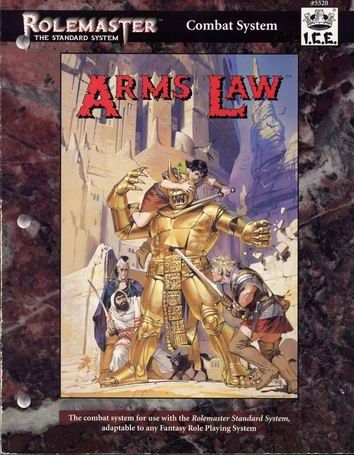 Product Line: Rolemaster  Product Edition: RMSS  Product Name: Arms Law  Product Type: RPG Rules  Author: ICE  Stock #: 5520  ISBN: 1-55806-214-9  Publisher: ICE  Cover Price: $16.00  Page Count: 144  Format: Softcover  Release Date: 1994  Language: English