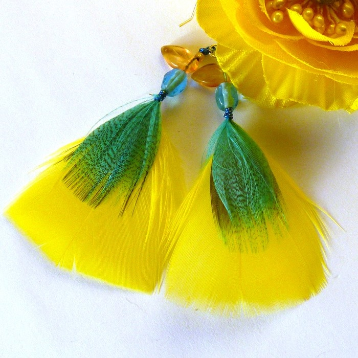 Yellow Feather Earrings - by Noogal on madeit