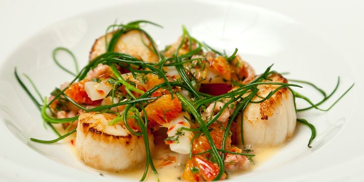 Richard Corrigan demonstrates his masterly understanding of flavour pairings in this scallops recipe with shrimp, salsify and blood orange.