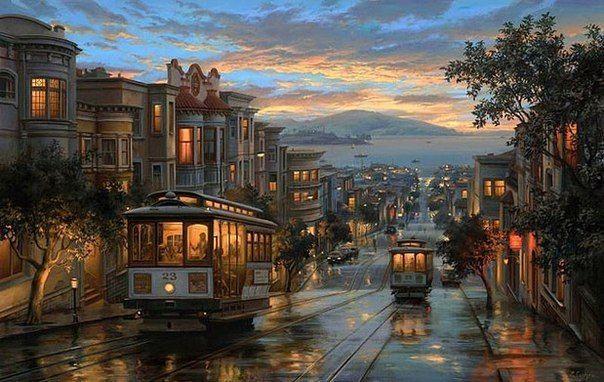 #город #ночь #трамвай #декупаж #живопись  #пейзаж