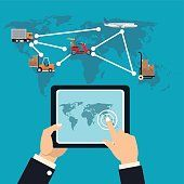 delivery concept online service logistic cargo transport vector illustration eps 10