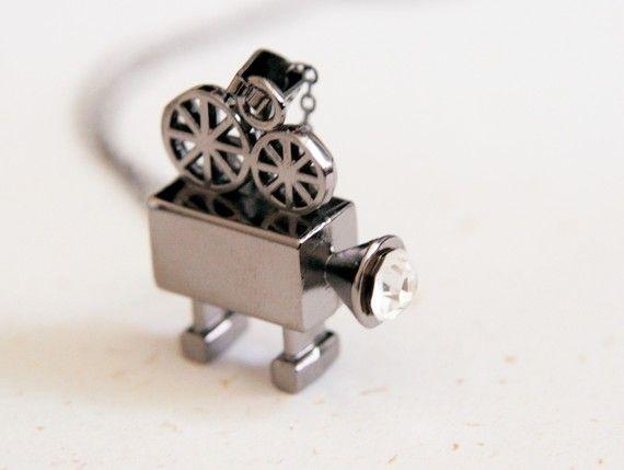 Vintage Video Camera Necklace N166 by blingDIY on Etsy, $13.90