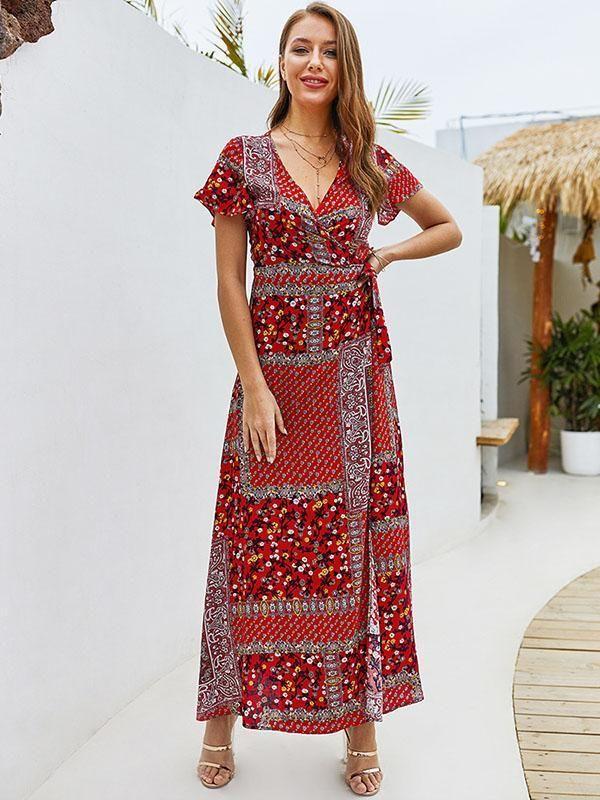V-neck Short Sleeve Bohemian Dress