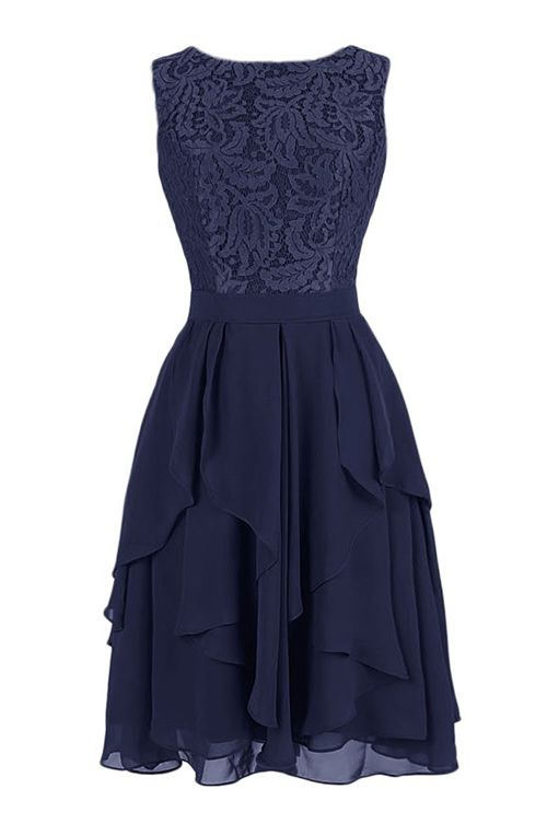 Exquisite A-line Jewel Knee Length Chiffon Bridesmaid Dress with Lace