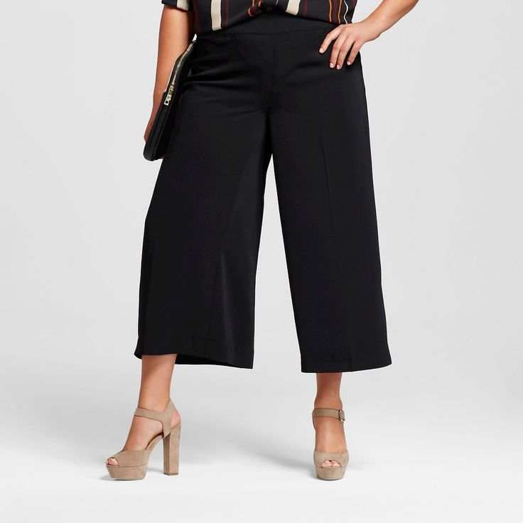 Women's Plus Size Culotte Black 20W - Who What Wear