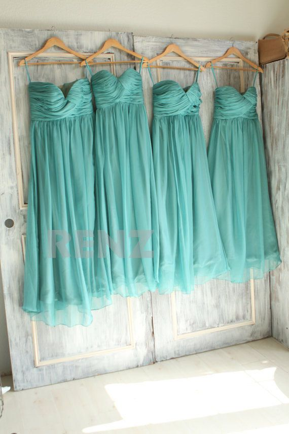 2015 Teal Bridesmaid dressSweetheart Double Spaghetti by RenzRags