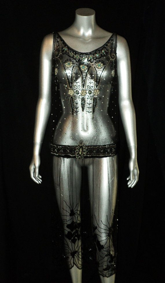 1920's Beaded net gown with sequins and rhinestones