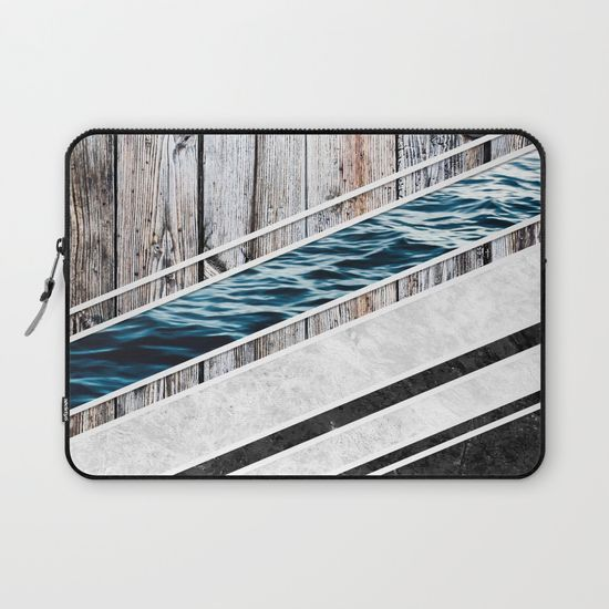 Striped Materials of Nature I Laptop Sleeve #wood #wooden #marble #stone #sea #ocean #stripe #stripes #striped #nature #texture #laptop #sleeve