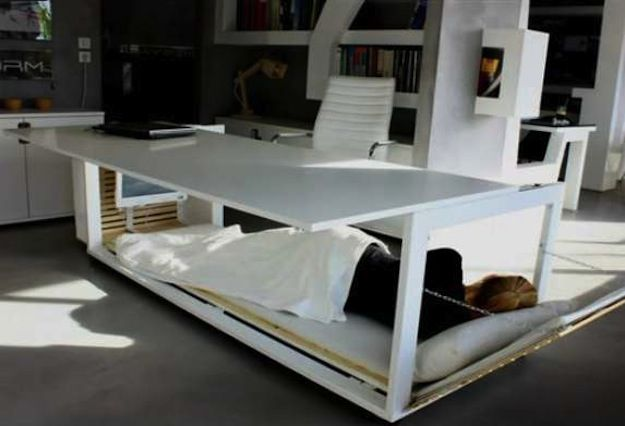 hybrid desk bed : a convertible piece of furniture that houses an area for rest underneath its work surface. Perfect for taking naps at the office ;P