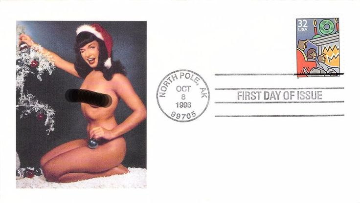 1996 Christmas Bettie Page Add-on First Day Cover