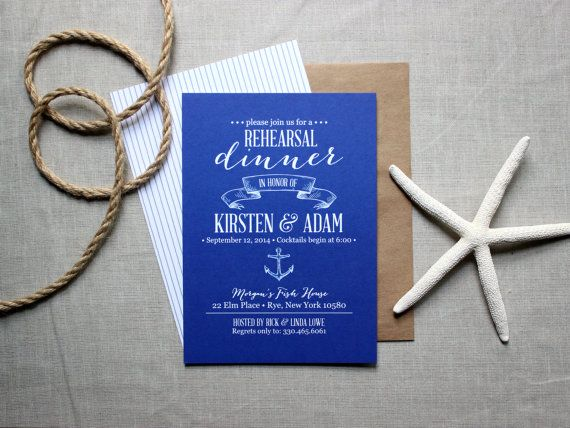 Nautical Rehearsal Dinner Invitations - Ocean-Inspired Rustic Modern Invites - Navy and White Invites via The Oyster's Pearl #wedding #invitation #beachwedding