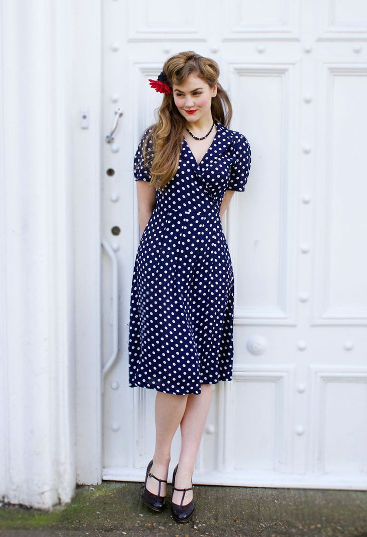 Navy & White Polka Dot Wrap Dress