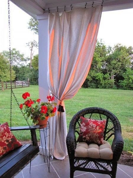 Love the idea of Outdoor curtains for my patio! Homeowners please pay attention! Outdoor Living spaces sell houses and adding a couple of curtains to your patio is cheap and easy!!!!!!